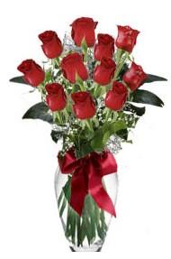 11 adet kirmizi gül vazo mika vazo içinde  Rize ucuz çiçek gönder