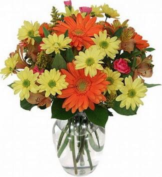 Rize çiçekçi mağazası  vazo içerisinde karışık mevsim çiçekleri