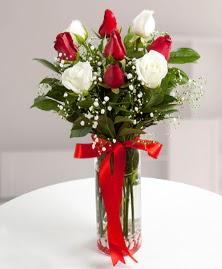 5 kırmızı 4 beyaz gül vazoda  Rize çiçek satışı