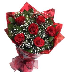 6 adet kırmızı gülden buket  Rize online çiçek gönderme sipariş