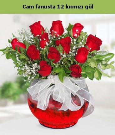 Cam içerisinde 12 adet kırmızı gül  Rize çiçek yolla , çiçek gönder , çiçekçi