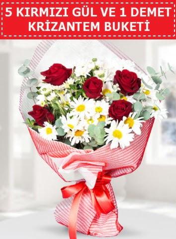 5 adet kırmızı gül ve krizantem buketi  Rize çiçek servisi , çiçekçi adresleri