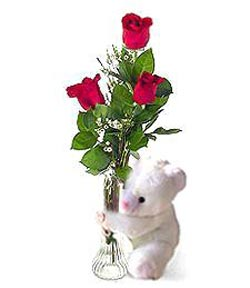 oyuncak ve 3 adet gül  Rize online çiçekçi , çiçek siparişi