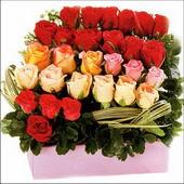 15 adet renkli gül ve cam   Rize yurtiçi ve yurtdışı çiçek siparişi