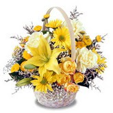 sadece sari çiçek sepeti   Rize 14 şubat sevgililer günü çiçek