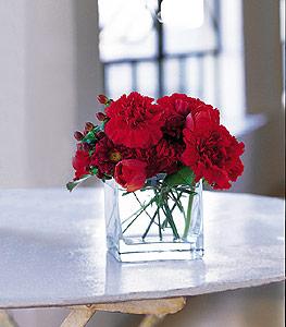 Rize kaliteli taze ve ucuz çiçekler  kirmizinin sihri cam içinde görsel sade çiçekler
