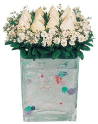 Rize yurtiçi ve yurtdışı çiçek siparişi  7 adet beyaz gül cam yada mika vazo tanzim