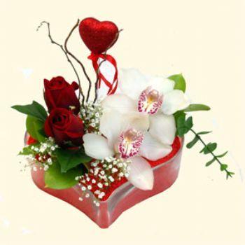 Rize çiçekçi mağazası  1 kandil orkide 5 adet kirmizi gül mika kalp