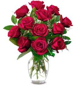 Rize çiçek gönderme  1 düzine kirmizi gül sevenlere özel vazo gülleri