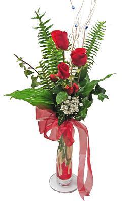 Çiçek gönderin cam vazoda 3 gül çiçekleri  Rize online çiçekçi , çiçek siparişi