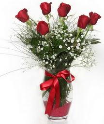 7 adet gülden cam içerisinde güller  Rize ucuz çiçek gönder