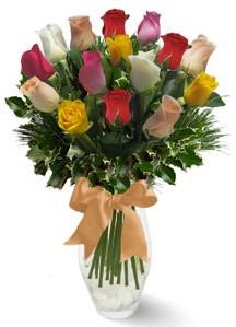 15 adet vazoda renkli gül  Rize çiçek yolla , çiçek gönder , çiçekçi