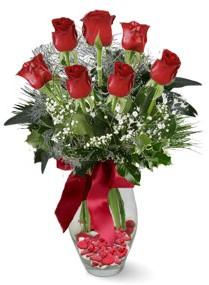 7 adet vazoda gül  Rize çiçek yolla , çiçek gönder , çiçekçi   kirmizi gül