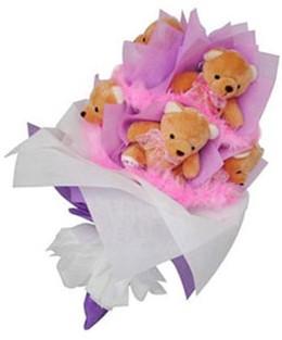 9 adet ayiciktan buket  Rize çiçekçi mağazası