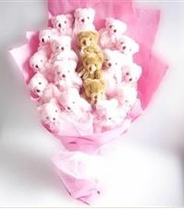 17 adet pelus ayicik buketi  Rize uluslararası çiçek gönderme