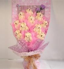 11 adet pelus ayicik buketi  Rize anneler günü çiçek yolla