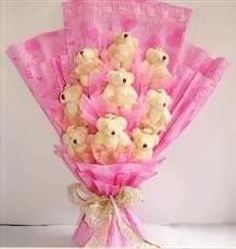 9 adet pelus ayicik buketi  Rize hediye çiçek yolla