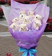 11 adet pelus ayicik buketi  Rize kaliteli taze ve ucuz çiçekler