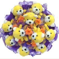 11 adet pelus ayicik buketi  Rize çiçekçiler