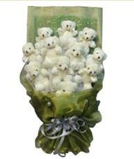 11 adet pelus ayicik buketi  Rize çiçek gönderme