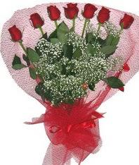 7 adet kipkirmizi gülden görsel buket  Rize çiçekçiler