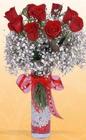 9 adet kirmizi gül cam yada mika vazoda  Rize çiçekçiler