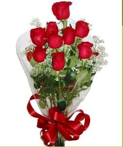 Rize çiçek , çiçekçi , çiçekçilik  10 adet kırmızı gülden görsel buket