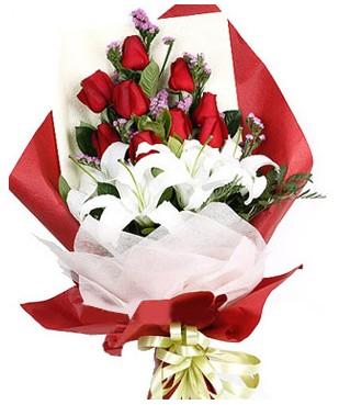 Rize İnternetten çiçek siparişi  1 dal kazablankaa 9 adet kırmızı gül buketi