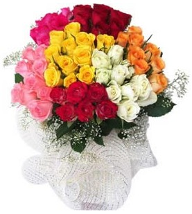 Rize çiçek online çiçek siparişi  51 adet farklı renklerde gül buketi