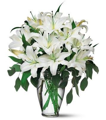 Rize çiçek yolla , çiçek gönder , çiçekçi   4 dal kazablanka ile görsel vazo tanzimi