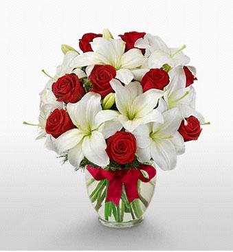 Rize güvenli kaliteli hızlı çiçek  1 dal kazablanka 11 adet kırmızı gül vazosu