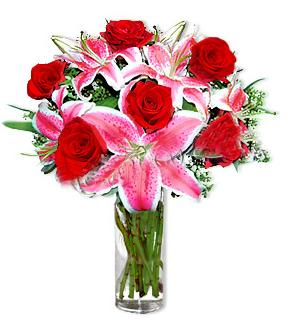 Rize anneler günü çiçek yolla  1 dal cazablanca ve 6 kırmızı gül çiçeği