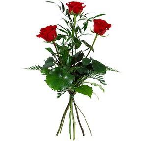 Rize çiçek , çiçekçi , çiçekçilik  3 adet kırmızı gülden buket