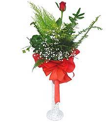 Rize hediye çiçek yolla  Cam vazoda masum tek gül