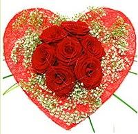 Mika kalp içerisinde 7 adet kırmızı gül  Rize yurtiçi ve yurtdışı çiçek siparişi