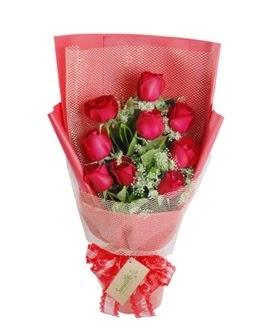 9 adet kırmızı gülden görsel buket  Rize kaliteli taze ve ucuz çiçekler