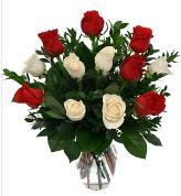 Vazo içerisinde 6 kırmızı 6 beyaz gül  Rize güvenli kaliteli hızlı çiçek