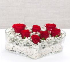 kalp içerisinde 7 adet kırmızı gül  Rize çiçek yolla
