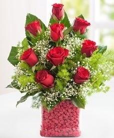 Cam içerisinde 9 adet kırmızı gül  Rize çiçek yolla , çiçek gönder , çiçekçi