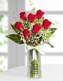 Cam vazoda 7 adet kırmızı gül  Rize çiçek mağazası , çiçekçi adresleri