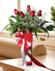 Camda 5 kırmızı gül tanzimi  Rize çiçek online çiçek siparişi