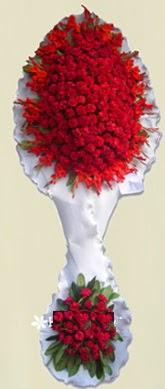 Çift katlı kıpkırmızı düğün açılış çiçeği  Rize hediye çiçek yolla
