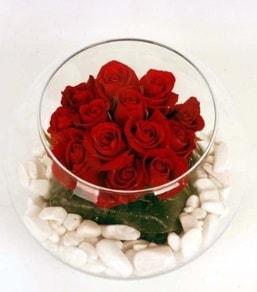 Cam fanusta 11 adet kırmızı gül  Rize hediye sevgilime hediye çiçek
