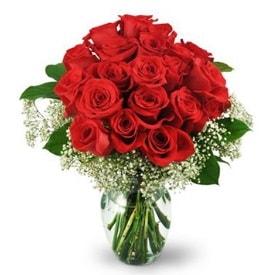 25 adet kırmızı gül cam vazoda  Rize çiçek mağazası , çiçekçi adresleri