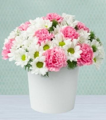 Seramik vazoda papatya ve kır çiçekleri  Rize online çiçekçi , çiçek siparişi