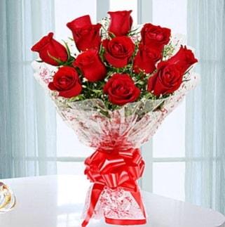 11 adet kırmızı gülden görsel şık buket  Rize kaliteli taze ve ucuz çiçekler