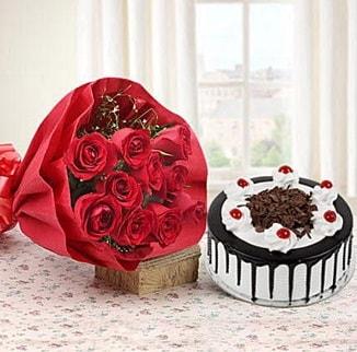 12 adet kırmızı gül 4 kişilik yaş pasta  Rize çiçek mağazası , çiçekçi adresleri