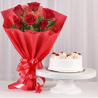 6 Kırmızı gül ve 4 kişilik yaş pasta  Rize çiçek mağazası , çiçekçi adresleri