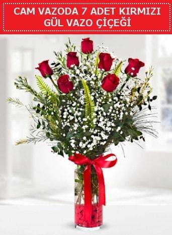 Cam vazoda 7 adet kırmızı gül çiçeği  Rize 14 şubat sevgililer günü çiçek