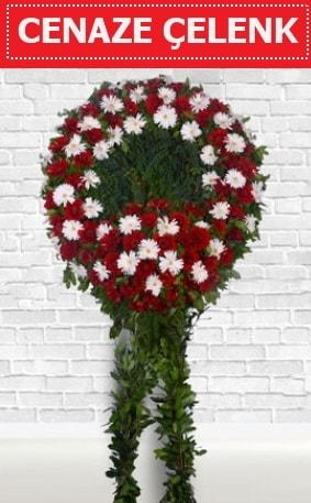 Kırmızı Beyaz Çelenk Cenaze çiçeği  Rize uluslararası çiçek gönderme